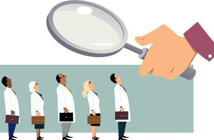 76929559-searching-for-a-doctor-giant-hand-with-a-magnifying-glass-examining-a-line-of-people-in-white-coats-
