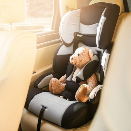 Safety car seat for baby with teddy bear