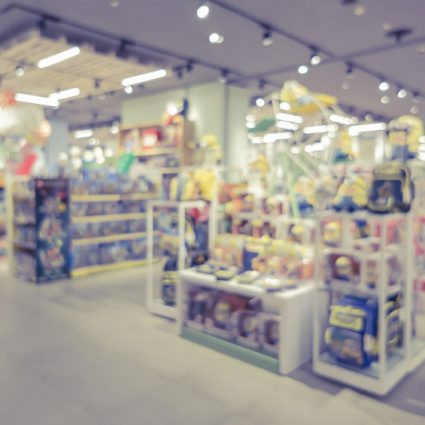 blurred background of toys department store,Natural bokeh shopp