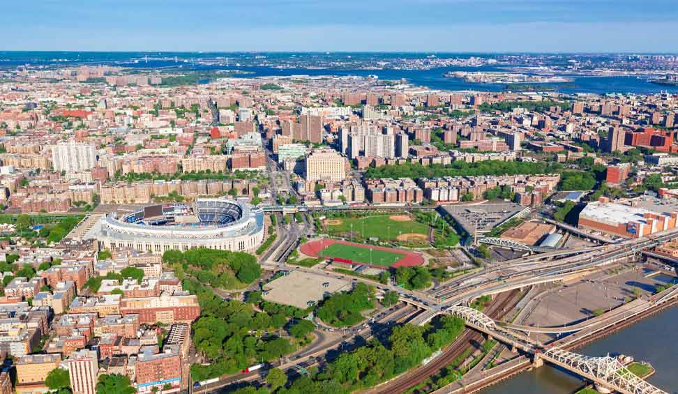 areial view of bronx,NY